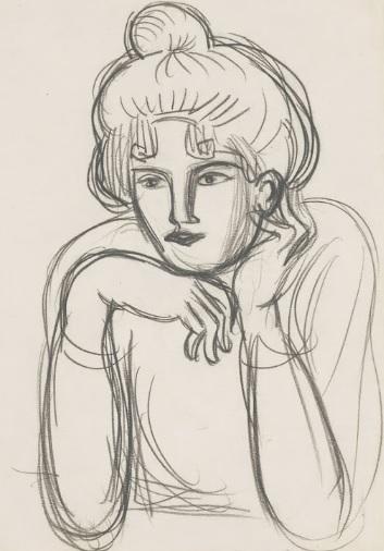 Mujer con moño, otoño 1901. Lápiz Conté sobre papel vitela verjurado.37x25cm. Museo Nacional Picasso,París.