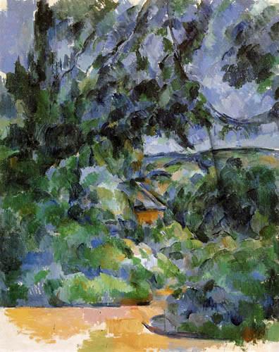 Pau Cezane, Paisaje azul.1904 Su visión de la naturaleza refleja una tensión interna que roza  el expresionismo.Se asemeja a ciertas representaciones de Chateau Noir o Recodo del camino. La parte central tiene un desgarrón, se sostiene, producida por él.