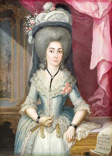 Doña Maria Catalina de Urrutia por José Campeche Puerto Rico 1788.Sus retratos de damas elegantes y rococós son sus obras mas representativas
