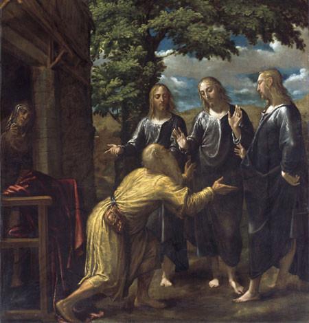 Juan Fernández de Navarrete el Mudo. Abraham y los tres ángeles 1576.Öleo sobre lienzo, 286x238cm. Dublin, National Gallery of Ireland.