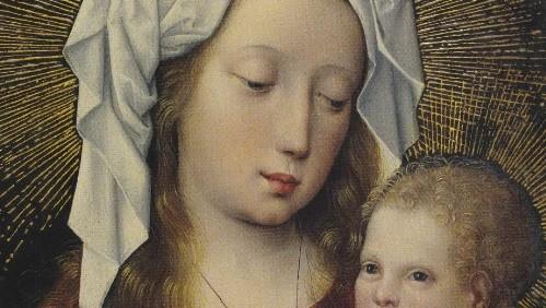 """Óleo sobre tabla,38x35cm.Maestro de la Leyenda de la Magdalena, activo en Bruselas 1483-1527.Virgen con el Niño 1490.Bellísimo formato circular dentro de la llamada """"Devotio moderna""""."""