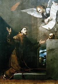 Jusepe Ribera, San Francisco recibe los 7 privilegios del ángel, SXVII, Palazzo Bianco, Génova