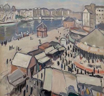 Albert Marquet.Verbena en El Havre 1906. Musée des Beaux Arts Burdeos. Usaba colores pasteles para sus bohemias parisinas...no podía comprar colores caros.Asi jugaba con los efectos de texturas sobre el grano de papel.