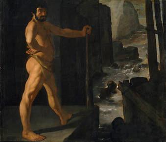 Hércules desvía el río Alfeo,1634.Óleo sobre lienzo 133x153cm.M.Prado.Este lienzo pertenece a la serie de Los Trabajos de Hércules encargada para el Palacio del Buen Retiro.Excepción en su carrera este dios pagano lo transforma con naturalidad en celeste.