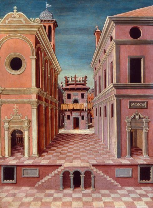 Atribuido a Girolamo da Cotignola, Vista de una ciudad, 1520, Ferrara, Pinacoteca Nazionale