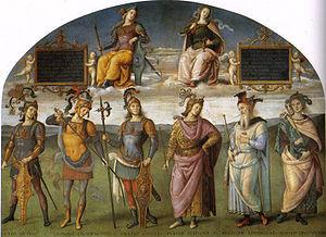 Perugino, Fortaleza y Templanza sobre 6 héroes antiguos:Sicinio,Leónidas Horacio,Publio Escipión,Pericles y Quinto Cincinati, obra maestra de Sala Di Cambio,Perugia