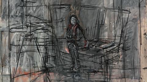 Alberto Giacometti.Isabel en el estudio 1949.Óleo sobre lienzo 105x87cm.Musée D´Orsay, Paris. El autor hizo un esfuerzo desesperado por liberarse del laberinto y de los trazos en los que enjaulaba a sus modelos,gamas grisáceas para situarla en un marco.