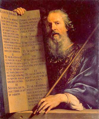 Philippe de Champaigne, Moises con las tablas de la Ley, 1648. A diferencia del resto, el autor no las representa en arco de medio punto, en su afán por alcanzar la verdad histórica, las pinta rectangularescomo lo exigían los primeros cristianos.
