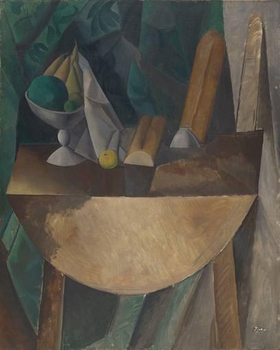 """Importantes alusiones eucarísticas en esta naturaleza muerta """"Panes y frutero,con fruta sobre mesa"""" Una mesa abatible de madera con dimensiones descomunales ocupa el lienzo.Rigor geométrico, estricta frontalidad,gran tamaño del lienzo."""