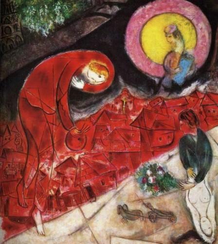 Los tejados rojos 1953. Óleo sobre papel adherido a lienzo de lino. Centro Pompidou, Paris. Chagal convierte su obra en un acontecimiento, en algo que va mas allá del asunto pintado en su composición,forma y color.