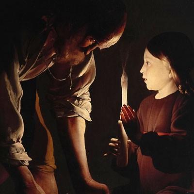 San José carpintero.Óleo sobre lienzo.137x102cm.Paris,Musée de Louvre..El tema religioso adquiere una fuerte dimensión humana.El artesano doblado sobre su trabajo,se detiene para mirar a su Hijo quien le alumbra.Contrapone las manos del poderoso padre.