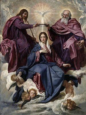 Coronación de la Virgen . Velázquez. SXVII. Detalle de la Santísima Trinidad coronando a María como reina del cielo.