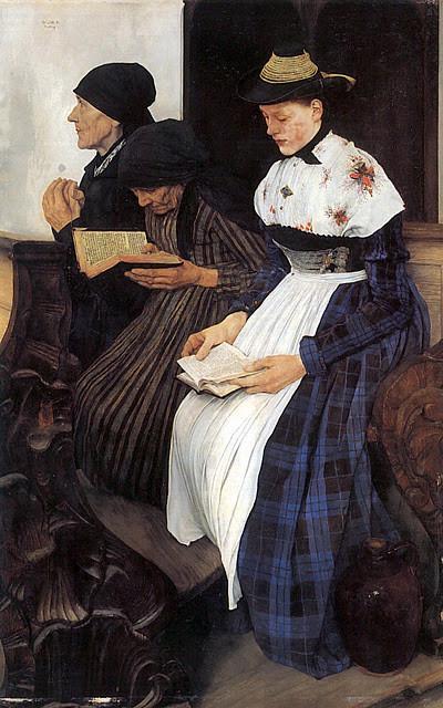 """Leibl, extraordinario dibujante, considerado como líder del realismo alemán, dejó indiscutible muestra de sus facultades en su famoso óleo """"Tres mujeres en la iglesia"""", 1878-82,ejecutado durante su llamado periodo Holbein.1,24x 0,85m.Galería de Hamburgo."""