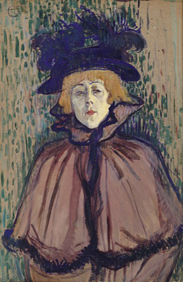 Touluse Lautrec. Jane Avril 1891-1892.Óleo sobre cartón montado sobre tabla 63x42cm. Sterling and Francine Clark Art Institute, Williamstown, Massachusetts.