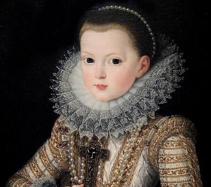 Juan Pantoja de la Cruz pinta a la Infanta Doña Ana de Austria en 1607, primogénita de Felipe III, futura mujer de Luis XIII de Francia y futura madre de Luis XIV. Fue reina regente de Francia con el cardenal Mazarino.