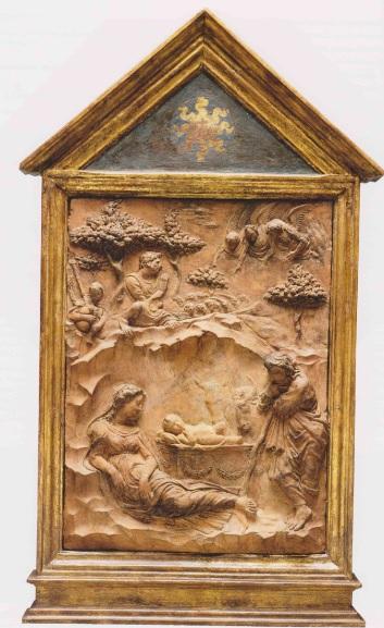 Donatello La Natividad y el anuncio de los pastores. Terracota con restos de policromia y dorado 1415-20.Detroit Institute of Arts.