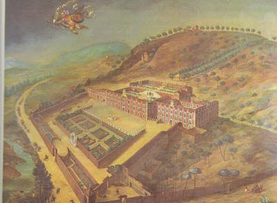 Escuela madrileña, Sitio de La Florida, 1670. Óleo sobre lienzo,235x290cm. Fue construido por Fco de Moura, tercer marqués de Castel Rodrigo, se trata de una Villa italiana en tres niveles con grandes jardines situada al noroeste de la villa y corte.