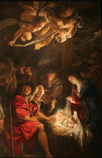 Rubens La adoración de los pastores. Óleo sobre tabla transferido.63x47cm.San Petersburgo.Hermitage Museum. La composición recuerda mucho a la de Caravaggio donde un niño irradia luz por si solo.