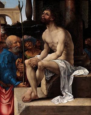 Jan Gossaert,Escarnio de Cristo 1527. Impresionante ejecución,la luz que emana del cuerpo de Cristo enfoca el nucleo de la escena y una fuerza poderosa crea sombras caricaturescas que anticipan la tragedia.Jesús contempla con horror el drama de su tortura