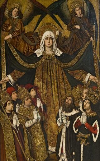Tabla de conífera de la Virgen de la Misericordia,Grand Rapids Art Museum,Michigan.Procede del retablo de la capilla de los Lobera, ricos comerciantes asentados en Zaragoza donde se veneraba la Virgen del Pilar a orillas del Ebro.