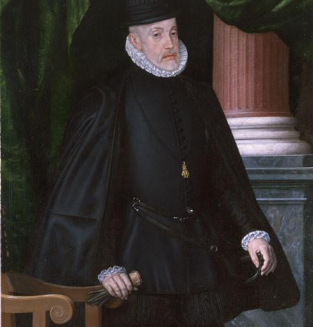 Juan Pantoja de la Cruz, Felipe II anciano, 1594. Monasterio de El Escorial,Madrid. Imagen de majestad asociada a la frialdad, la distancia e inexpresividad del rostro,vestido de riguroso negro, emblema del poder.