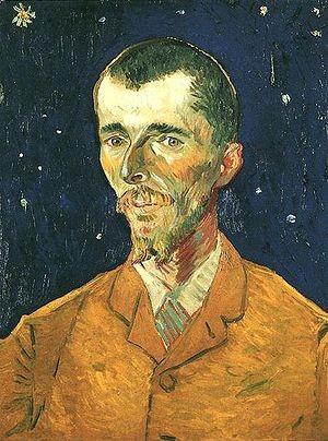 """Van Gogh.Eugéne Boch 1888.Hijo de un industrial belga,amigo de The su hermano.2Cabeza fina de verde mirada recortado en cielo estrellado de azul ultramar"""" escribe en su diario."""