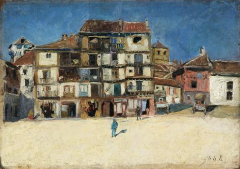 Darío de Regoyos.Plaza de Segovia,1882.Óleo sobre catón. 30x42cm.Museo de Bellas Artes de Bilbao.