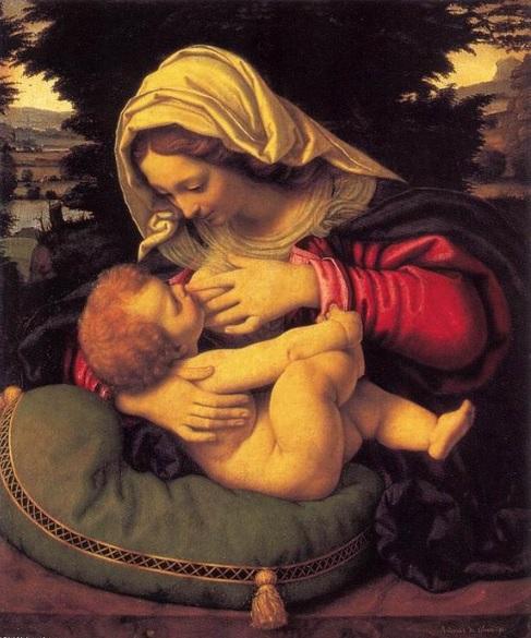 La Madonna de Renoir se compara con la Virgen de n primitivo de la escuela de Bolonia,Andrea di Bartolo,llamado Solario.La Virgen del Almahadón verde,hacia 1507.Óleo sobre tabla 59x47cm.Paris Museo del Louvre.