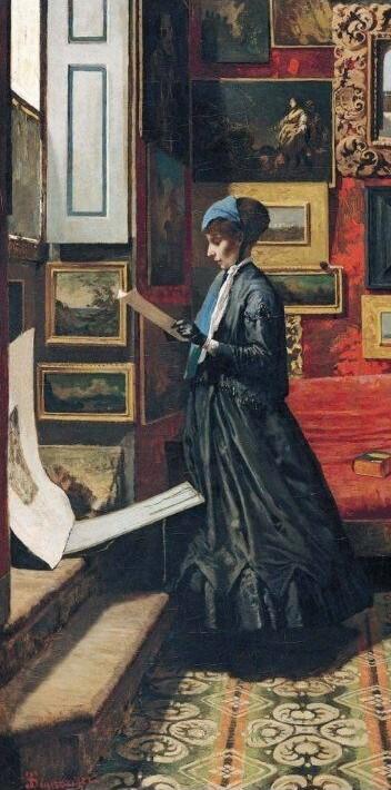 Telemaco Signorino,Esperando.1866.Óleo sobre lienzo.119x62cm.
