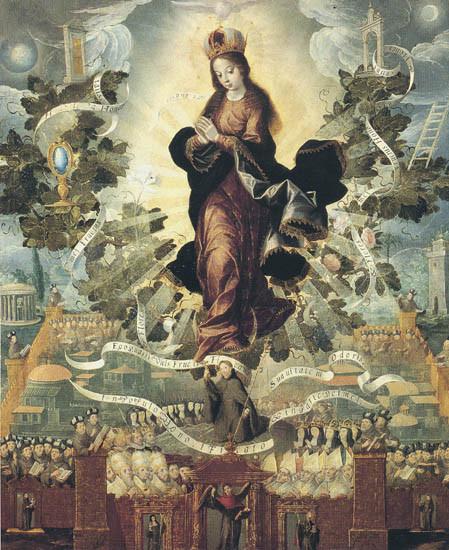 Basilio Salazar, novohispano activo 1610-40. Exaltación franciscana de la Inmaculada Concepción. Museo Regional de Querátaro, Méjico.