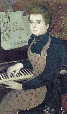 """Maurice Denis,Le Menuet de la Princess Maleine,1891.95x60cm.Denis utiliza la figura de su amada para expresar sentimientos..""""Ella es la más bella que todas las imágenes.."""""""