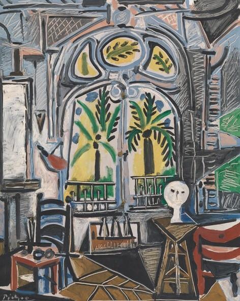 El taller de Picasso, Cannes,octubre 1955. Óleo sobre lienzo,80x64cm.Depósito de Gustav y Elly Kahnweiler en 1974.