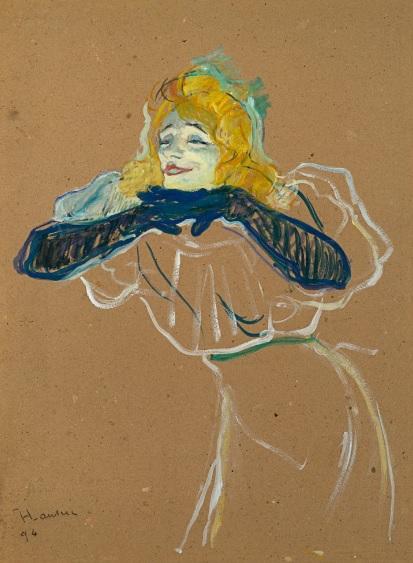 """Toulouse Lautrec estuvo alejado de la visión erótica y pornográfica de Picasso. Yvette Guilbert cantando""""Linger,Longer,Loo"""" 1894.Óleo sobre cartón.Pushkin Museum."""