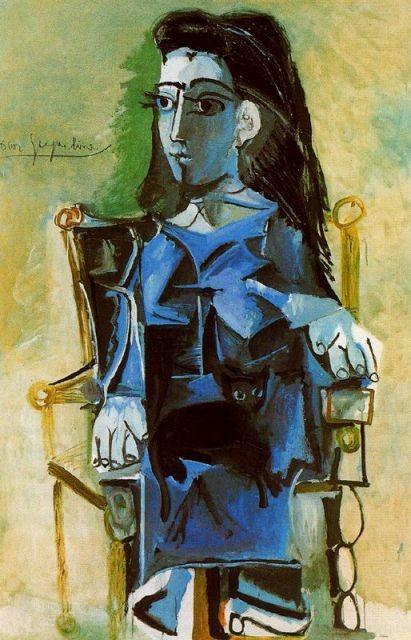 Jacqueline sentada,Mougins.Marzo del 64.Óleo sobre lienzo 195x130cm.Colección particular.