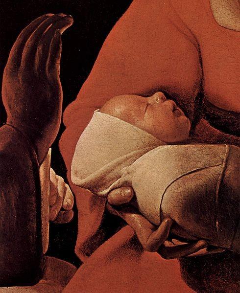 """(76cmx91cm)Tras 250 años de olvido""""El recién nacido""""fue atribuido a Georges La Tour en 1915 permitiendo su redescubrimiento.El blanco del Niño símbolo de pureza e inocencia y el rojo de María,de la Pasión de su Hijo.Sutil brillo de la cara y claroscuro"""