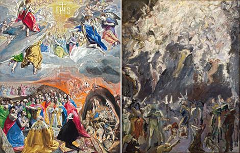El Greco, Adoración en Nombre de Jesus o Alegoría de la Liga Santa de 1577 fue un claro referente para Max BECKMANN,Estudio para la Resurrección I de 1907.