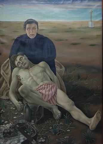 Detalle del Tríptico Madre,Vida,Dolor y Gloria 1923 de Cagnaccio di San Pietro, centra la figura d la madre,que pierde al hijo en combate,se traduce en una afligida Piedad laica,la perspectiva del cuerpo sin vida recuerda Mantegna.