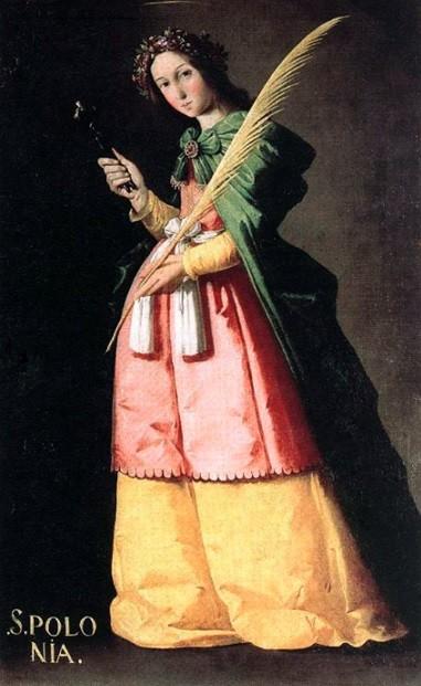 Santa Apolonia,1636-40Museo del Louvre,París.Los fanceses saquearon las instituciones religiosas en la guerra de la Independencia,5 de las santas adornaban el majestuoso salón del mariscal Soult.Virgen mártir de Alejandría en 249 le arrancaron los dientes