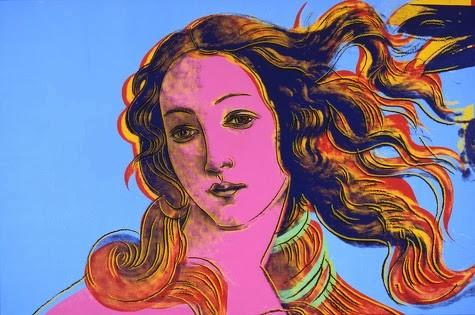 A Warhol.Detalles de pinturas renacentistas,Botticelli,Nacimiento de Venus,1984.Acrílico y tinta de serigrafía sobre lienzo.121x182cm.Tuh A.Warhol Museum,Pittisburgh
