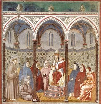El Papa queda fascinado por las palabras de San Francisco, Giotto