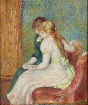 Uno de los motivos mas frecuentes en la pintura de género de Renoir es la pareja de chicas absortas en una misma actividad compartida, completamente ajenas a la presencia de un espectador.Supo plasmar un mundo exclusivamente femenino.