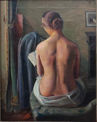 Mario Tozi.Donna seduta di schiena.Mujer sentada de espaldas 1926. Museo del Paesaggio,Verbania. La afirmación del moderno clasicismo, bañado por una luz que modela las formas.