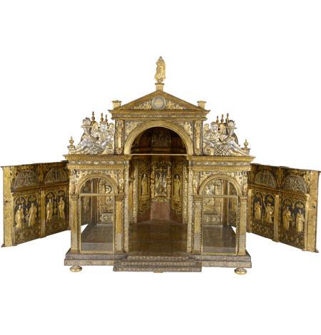 Taller milanés.Reproducción del antiguo Duomo de Milán, segunda mitad SXVI.Hierro y orp.Relicario bajo de San Jerónimo.