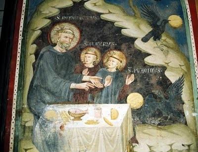 San Benito y sus discípulos, Plácido y Mauro, en Subiaco