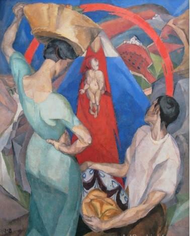 Monumental Adoración de Virgen con niño de Diego RIVERA,1913,150x122cm, gran acierto en la síntesis personal entre el origen cubista y la inspiración en el Greco, todo un análisi de originalidad y de interpretación cubista