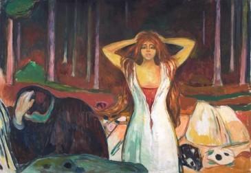 Cenizas,escena de funesto despertar tras una noche de pasión,todo se convierte en cenizas.La mujer se peina el cabello desmelenado,el hombre se encoge pues es ella quien domina.