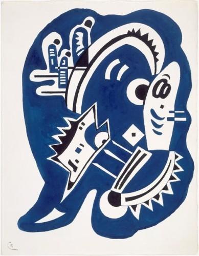 """Influenciado por  Hans Arp, Joan Miró,pinta formas amébicas abstractas, Kandinsky exploró el concepto de """"ausencia de forma"""" a través de microorganismos.Azul-Negro 1934,acuarela sobre papel.Legado N.Kandinsky"""