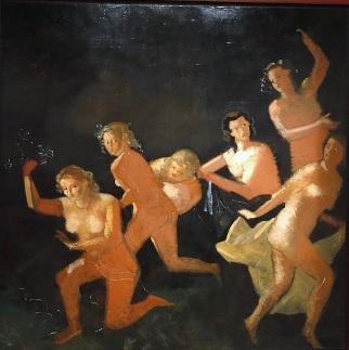 André Derain.Gran bacanal negra 1935-45.Óleo sobre lienzo,224x224cm. Museo de Arte Moderno de la Villa de Paris. Toda una variante de Tiziano con un asombroso formato,Derain se sentía amenazado por todas partes,la luz sobre fondo tenebroso casi abstracto.