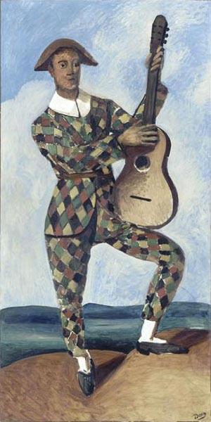 André Derain.Arlequin con guitarra,1924.Óleo sobre lienzo 190x97cm..Musée de l ´Orangerie. La atracción que ejercía la ópera, el ballet,el teatro sobre nuestros artistas impregnaban sus obras haciendo permeble la frontera entre el estudio y la escena.
