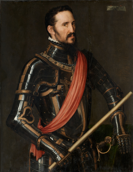 Antonio Moro.. Fernando Alvárez de Toledo, tercer duque de Alba,1549. Noble diplomático y militar español, virrey de Nápoles,de Portugal,gobernador de Milán y de ls Paises Bajos. El duque de Alba se impuso ante los protestantes con una política inflexible